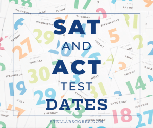 SAT and ACT test dates text on calendar image